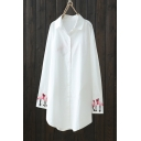 Fashion Flamingo Printed Cuff Back Long Sleeve Lapel Collar White Button Down Tunic Shirt