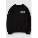 Stylish Letter GAME OF THRONES Printed Long Sleeve Round Neck Leisure Sweatshirt