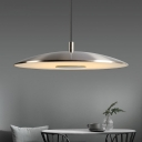 Satin Nickel Round Pendant Lights Post Modern Frosted Glass Shade Single Pendant Fixture