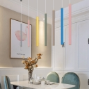 Macaroon Style Tube Pendant Lights Aluminum Single Head LED Downlight for Kitchen Island Bar Counter Restaurant