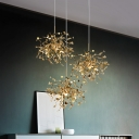 Firework LED Chandelier Post Modern Style Titanium 1 Lights Pendant Lighting in Gold