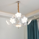 Modern Petal LED Chandelier Metal Multi Light Chandeliers in White for Living Room Bedroom
