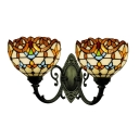 Multicolor Bowl Lighting Fixture Victorian Stained Glass 2 Heads Wall Sconce for Balcony