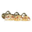 Shelly Wall Light Sconce Tiffany Style Resin Triple Light Wall Mount Light in Beige for Foyer