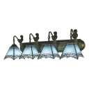 Nautical Tiffany Geometric Wall Sconce Blue Glass 4 Lights Wall Light Fixture with Mermaid