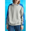 Trendy Long Sleeve Colorblock Letter Embroidered Lapel Collar Loose Sweatshirt for Guys