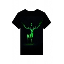 Rock Style Short Sleeve Round Neck Luminous Deer Printed Loose Tee for Couple