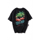 Fancy Popular Flamingo Graphic Print Black Cotton Round Neck Short Sleeves Casual Tee