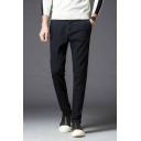 Fancy Black Plain Slim Leg Side Pockets Tailored Pants for Men