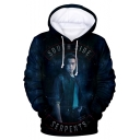 Character Letter Printed Long Sleeve Blue Unisex Oversize Hoodie