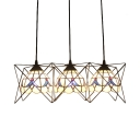 3 Heads Dome Drop Light Tiffany Retro Style Beige Glass Suspension Light with Metal Frame
