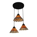 Triple Head Peacock Pendant Light Tiffany Vintage Style Adjustable Stained Glass Hanging Lamp