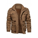 Popular Brown Zip Closure Plain Two-Way Collar Multiple Pockets Men's Military Jacket