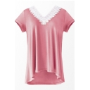 Pop Fashion Pink V-Neck Lace Trimmed Short Sleeves Summer T-shirt