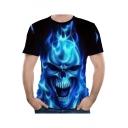 Stylish Black Flame Skull Pattern Round Neck Short Sleeves Casual T-Shirt