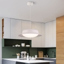 Plastic Dome LED Pendant Lights Modern Third Gear 1 Light Hanging Ceiling Lights in Brown/White