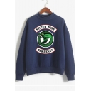 Soft Long Sleeve Mock Neck Dinosaur Letter SOUTH SIDE Printed Leisure Sweatshirt