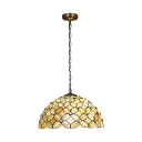 3 Bulbs Floral Ceiling Pendant Light Tiffany Style Shelly Suspended Lamp in Multi Color