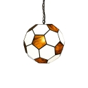 Football Pendant Light Tiffany Modern Stained Glass LED Suspended Lamp for Children Room