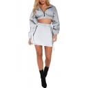 Hot Fashion Long Sleeve Zip Front Elastic Hem Crop Top Mini Skirts Gray Co-ords