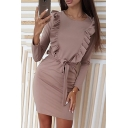 Hot Sale Long Sleeve Round Neck Ruffle Front Tie Waist Mini Sheath Dress