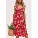 Hot Sexy Straps V Neck Tie Front Floral Printed Midi A-Line Dress