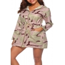 Cool Long Sleeve Zip Front Camouflage Drawstring Waist Hooded Tunics Coat