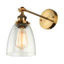 Bowl Shade Sconce LED Wall Light with Clear Glass  in Bronze