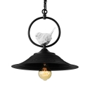 Black Industrial Pendant with Bird Decoration