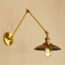 Arm Adjustable Wall Sconce Retro Style Vintage Iron Single Light Wall Light in Brass Finish