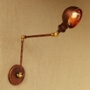 Rust Finish Semicircle Wall Light Vintage Metal 1 Head Sconce Light with Adjustable Arm