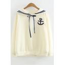 Fresh Long Sleeve Navy Collar Pattern Tie Front Leisure Sweatshirt