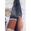 Hot Sale Knee High Plain Lace Hem Stylish Socking