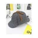 Hot Popular The Herringbone Printed Sherlock Holmes Rolled Cuff Gray Cap
