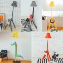 Bell 1 Light Floor Light with Animal Shape Base Fabric Floor Lamp for Kindergarten Nursing Room