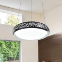 Etched Metal Frame Hanging Lamp Black Finish Round Shade LED Pendant Light in Modern Style