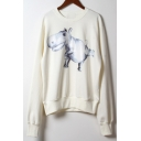 Cute Hippo Printed Long Sleeve Round Neck Relaxed Unisex Cotton Beige Sweatshirt