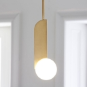 White Ball Shade Post Modern Mini Hanging Light in Gold Finish for Dining Room Bar Counter