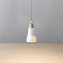 Wood Finish LED Hanging Light Nordic Style 1-Light Restaurant Ceiling Pendant Lamp in White