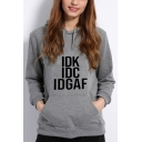 Chic Letter IDK IDC IDGAF Pattern Long Sleeve Regular Fitted Hoodie