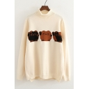 Lovely Three Cat Printed Mock Neck Long Sleeve Pullover Cozy Sweater
