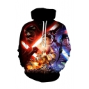 Unique 3D Long Sleeve Cartoon Character Black Unisex Hoodie