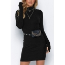 New Arrival Mock Neck Glove Long Sleeve Basic Solid Mini Slim Sweater Dress