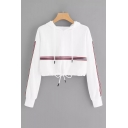 New Stylish Striped Colorblock Long Sleeve Loose Cropped White Hoodie