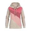 Slim Colorblock Ling Sleeve Leisure Sports Drawstring Hoodie