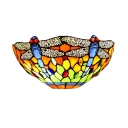 Dragonfly Motif Multicolored Semi-Circle Glass Shade Wall Washer 12