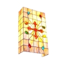 Rectangle Wall Lamp with Colorful Beads Tiffany Shelly Shade Wall Sconce in Beige