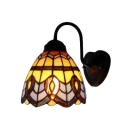 Gooseneck Dome Wall Lamp Baroque Tiffany Style Stained Glass Wall Sconce in Multicolor