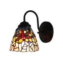 Traditional Tiffany Dragonfly Wall Lamp Stained Glass Wall Sconce in Multicolor for Bedroom
