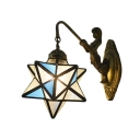 Aqua Star Shade Wall Sconce Tiffany Style Rippled Glass Wall Lamp for Bedroom Kitchen